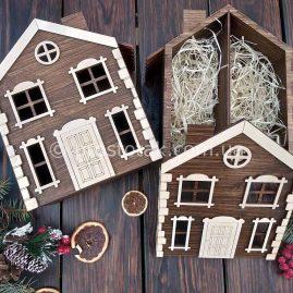 """Деревянная подарочная упаковка, ящик, коробка """"Сказочный домик"""""""