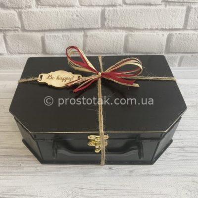 Коробка для подарка из дерева чемодан черного цвета