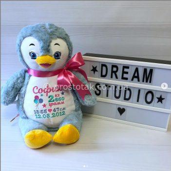 Игрушка для вышивки метрики пингвиненок