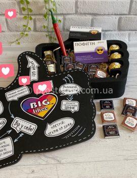 """Подарок в коробке лайк с шоколадом """"Для чоловіка"""""""