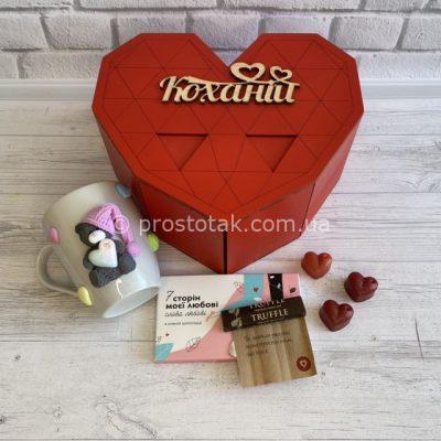 Коробка серце із чашечкою ручної роюоти та шоколадом