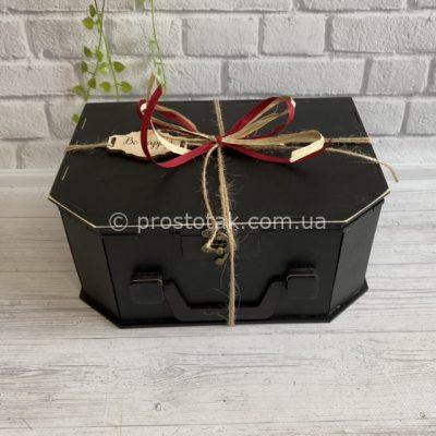 Коробка валіза чорного кольору 25Х17Х10см (фанера)