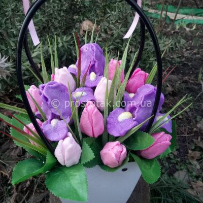 Корзина цветов из мыла Украина. Ручная работа