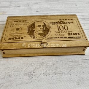 """Купюрница """"Доллар"""" из дерева для денежного презента"""
