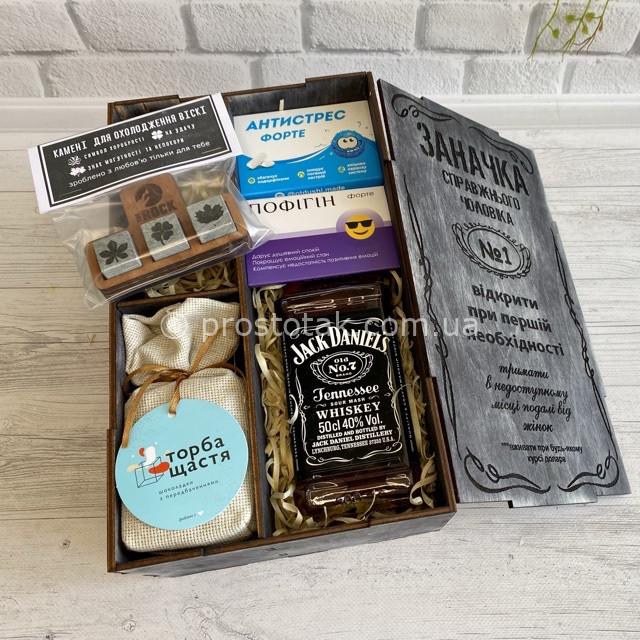 """Wooden box """"Заначка"""" з Теннессі віскі Jack Daniel's 0,5l + жуйки"""