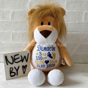 Игрушка Львенок с вышивкой метрики малыша