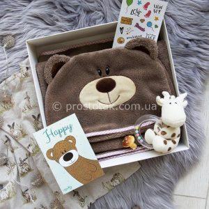 Полотенце с капюшоном и вышивкой имени (Шоколадное)